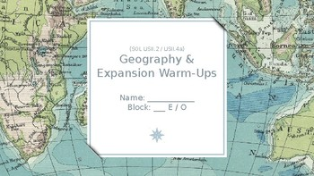 Geography & Expansion Bellringers Flipchart