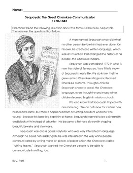 History: CHEROKEE INDIAN, SEQUOYAH + 10 Multiple Choice Re