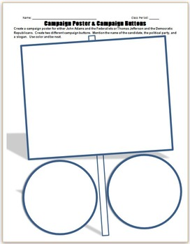 History Fun Activity/worksheet:CAMPAIGN BUTTON & SIGN Fede