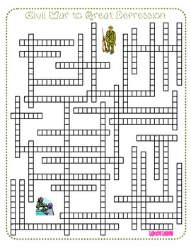 History Review Crossword Puzzle - Two Pack (Civil War to P