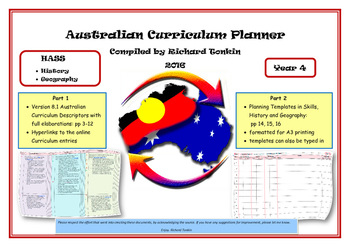 History and Geography Australian Curriculum Planner- Year Four