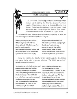 History and Geography Words-Paul Revere's Ride