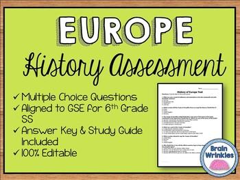 History of Europe Assessment (Editable)
