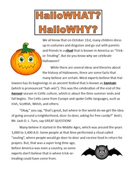History of Halloween Articles and Questions