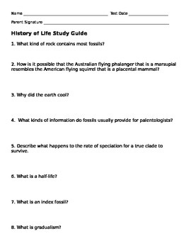 History of Life Study Guide