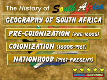 History of South Africa: 4-PART UNIT with 100 rich slides