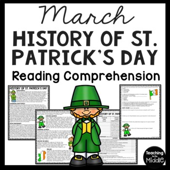 History of St. Patrick's Day Reading Comprehension Workshe