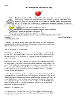 History of Valentine's Day Close Reading/Summary Writing-8
