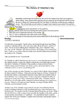 History of Valentine's Day Close Reading/Summary Writing-9