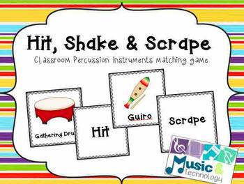 Hit, Shake, Scrape Percussion Instrument Matching Game