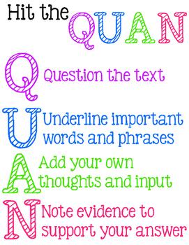 Hit the QUAN  - Close Reading Strategies Printable Poster
