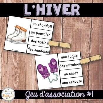 Hiver - Jeu d'association #1 - French Winter Clip Cards