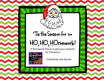 Ho Ho Homework Pass for Student Christmas gift