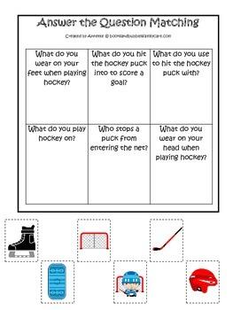Hockey Sports themed Answer the Question preschool educati