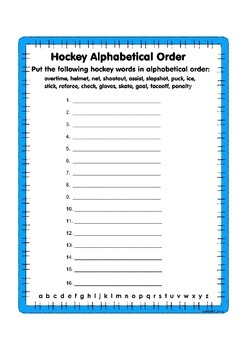 Hockey Vocabulary Alphabetical Order