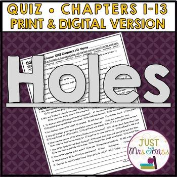 Holes Quiz 1 (Ch. 1-13)