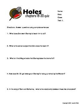 Holes book chapter 18-39 quiz below 6th grade level