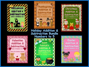 Addition & Subtraction Within 5 ~ Holiday Bundle