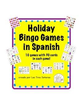 Holiday Bingo Set in Spanish Bundled