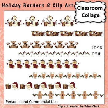 Holiday Borders 3 Clip Art - color - personal & commercial use