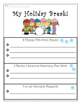 Holiday Break 1-2-3 Writing ** Graphic Organizers, Templat