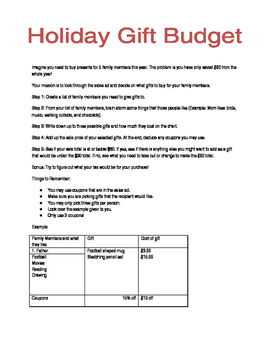 Holiday Budget Project