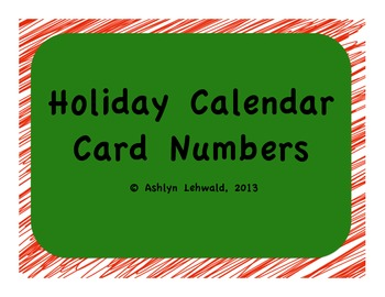 Holiday Calendar Numbers Cards