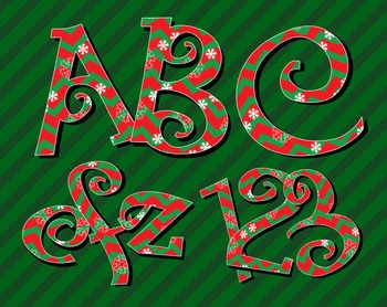 "Holiday Chevrons in Red and Green - 2.5 - 3"" high - 300 DP"