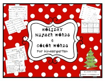 Holiday Color and Number Word Practice