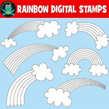 Rainbow Coloring Pages Digital Stamps Printable (Upzaz Dig