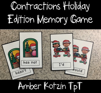 Holiday Contractions Memory Game