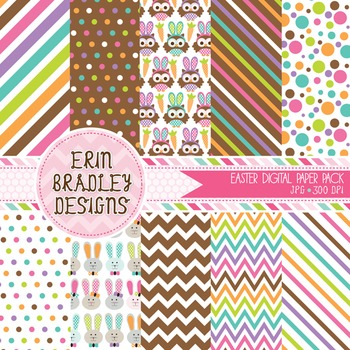 Holiday Digital Papers - Easter Owls and Bunnies Patterned