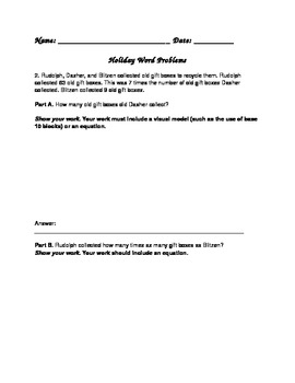 Holiday Extended Response Word Problems