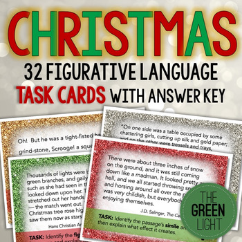 Holiday Figurative Language Task Cards: Christmas Activity, Bell-Ringers by The Green Light