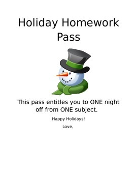 Holiday HW Pass