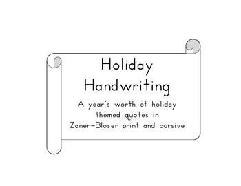 Holiday Handwriting Zaner-Bloser Style