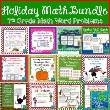 Holiday Math Bundle - Task Cards, Scavenger Hunts, Workshe