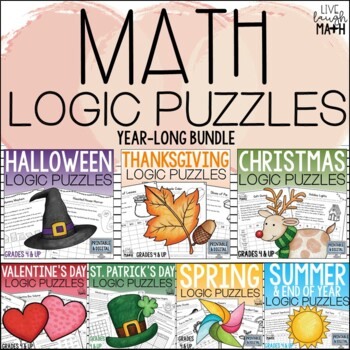 Holiday Math Logic Puzzles for the Entire Year {Growing Bundle}