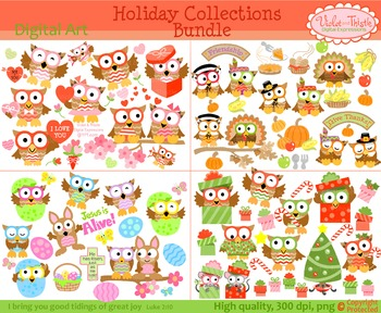 Holiday Owl Clipart Christmas Valentines Thanksgiving East