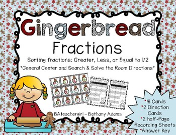 Gingerbread Fractions ~ Search and Solve the Room *Math Ce