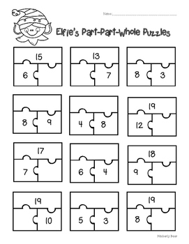 Holiday Part-Part-Whole Puzzles - 3 Leveled Worksheets!  S