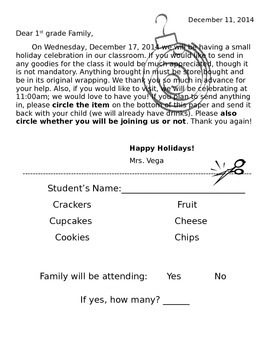 Holiday Party Parent Letter (Editable)