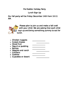Holiday Party Sign Up Sheet