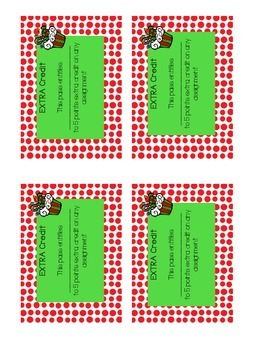 Holiday Passes- Homework and Extra Credit