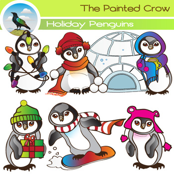 Penguin Clip Art - 14 Piece Holiday Set with Color and Bla