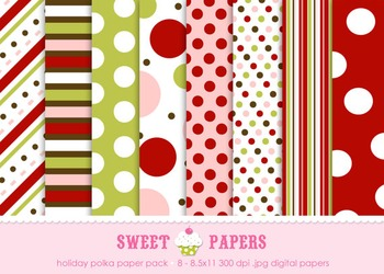 Holiday Polka Red Chartreuse Pink Digital Paper Pack - by
