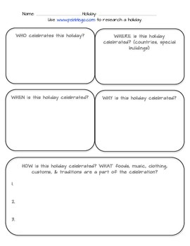 Holiday Research Graphic Organizer- Webquest