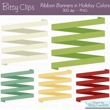 Holiday Ribbon Banners Clipart Digital Art Set Red Green B