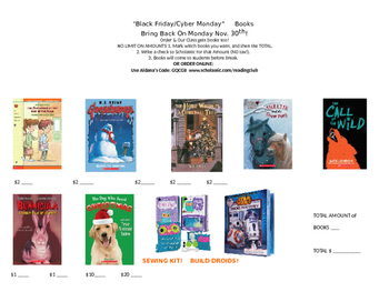 Holiday Sale!  BLACK FRIDAY BOOK FLYER for Scholastic Clas