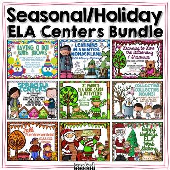 Year Long Seasonal/Holiday ELA Literacy Stations Bundle